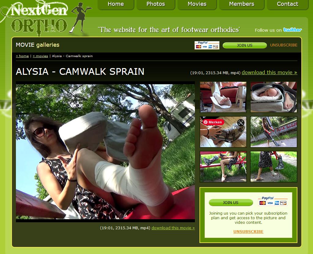 Alysia sprain - Bandage and camwalker