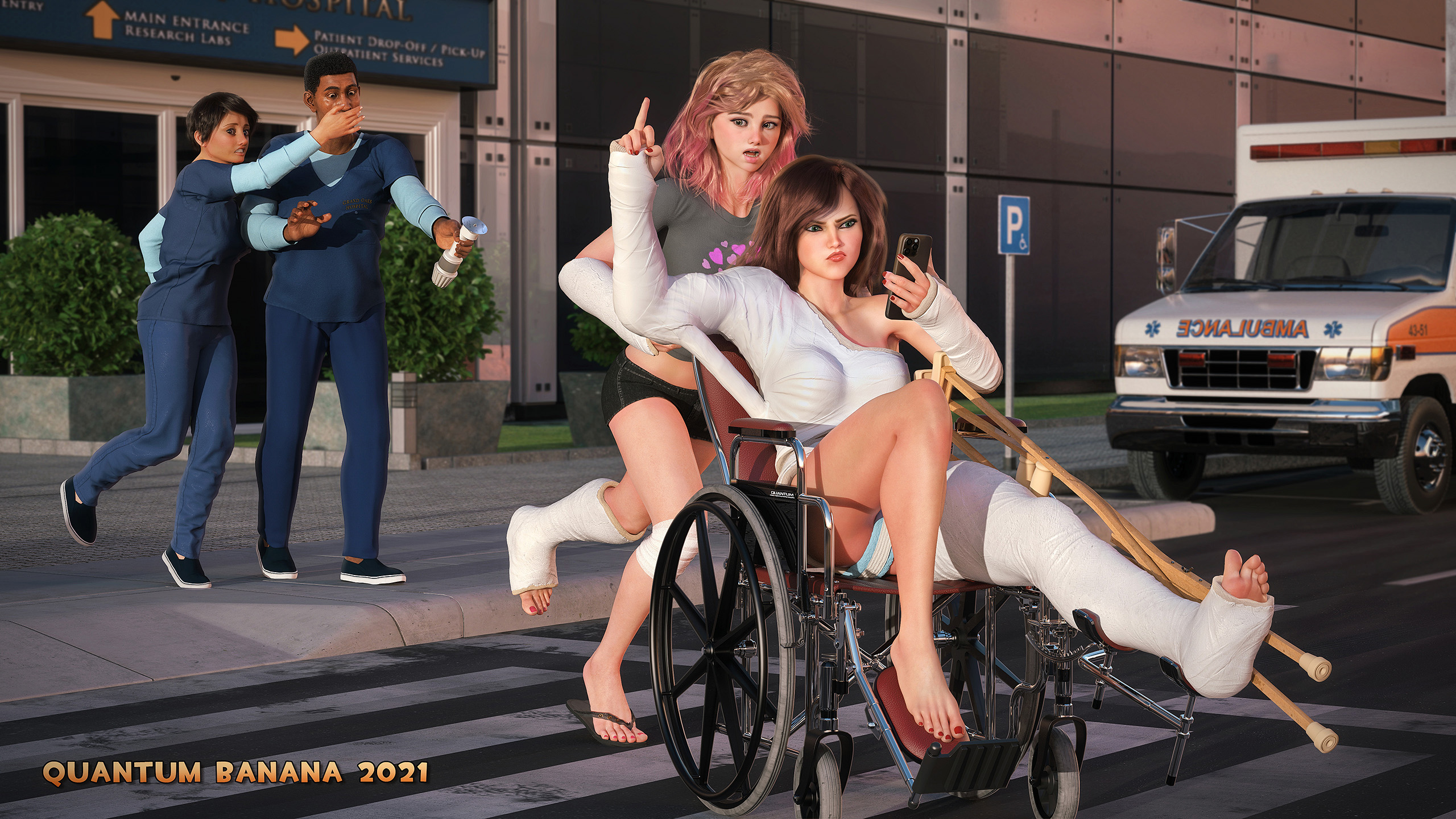 Season 2 Finale: A Parting Salute. Shoulder spica and llc in wheelchair, beeing pushed by a second casted girl.