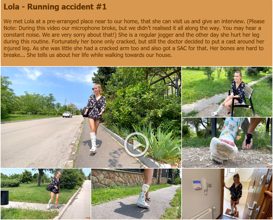 Lola SLC - Running accident #1 - She is a regular jogger and the other day she hurt her leg during this routine. Fortunately her bone only cracked, but still the doctor decided to put a cast around her injured leg.