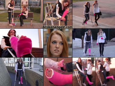 Kelly pink SLWC - Kelly crutches to the park to meet her step-sister wearing a fiber version on the type of plaster cast she wore when we first met her with a medically broken leg. She sits on the bench checking out her exposed casted toes and...