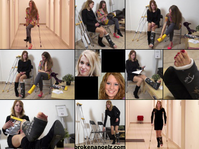 Britney term SLC and Jade Sprain - Jade crutches into the doctors waiting room with her badly sprained bandaged ankle wondering what the future will hold. She thinks see's it when Britney appears, crutching down the hallway in her leg cast.