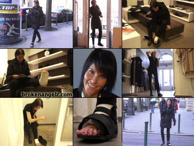 Bree SLC - Bree gimps across town to do a bit of clothing shopping wearing one wellie and with her casted foot in an open cast boot. Her exposed toes protected only with a heavy sock. When she gets to the store she pulls the cast boot and sock off...