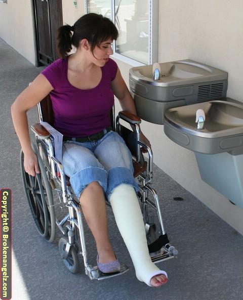 Myra white fiber LLC with angled in wheelchair