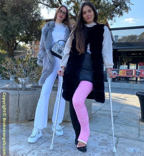 Lara - in pink, angled LLC on crutches (Big Member Pix + Short Clip)