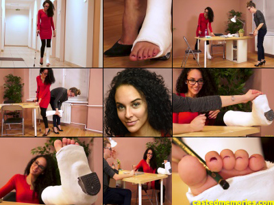 Rita Term SLWC - Sexy Rita gimps into work for the first time after her accident using a crutch cane to balance on her single stiletto heel. She's dressed as sexy as she can be for work sporting a plaster cast with her toes hanging out of it.