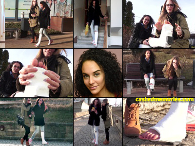 Rita plaster SLWC - Rita goes out for a gimp but without crutches she's pretty shaky so she uses her friend to lean on as they go out top the plaza. It's a beautiful day and they pose with each other for a selfie. Rita's exposed toes get pretty...