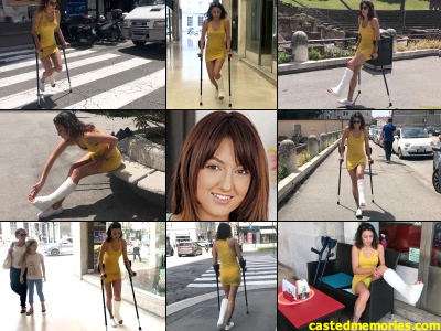 Suzy SLC - A crutchers clip with Suzy crutches out in and giving folks in the town a lot more to look at then just her five long sexy toes sticking out of her cast. She dressed in sheer yellow body fitting dress with underwear to match...