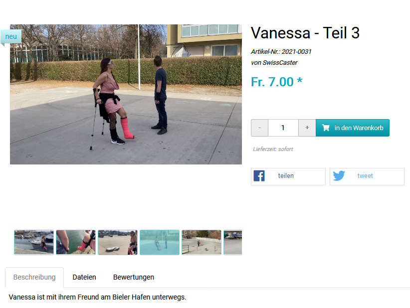 Vanessa Part 3 Video - Visiting the port of Biel in a shortlegcast on crutches.
