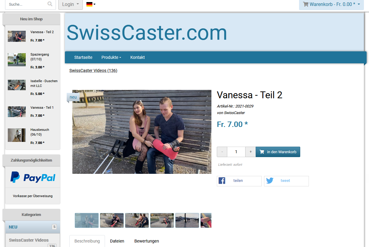 Vanessa Part 2 Video - Visiting the port of Biel in a shortlegcast on crutches. Her boyfriend is with her.