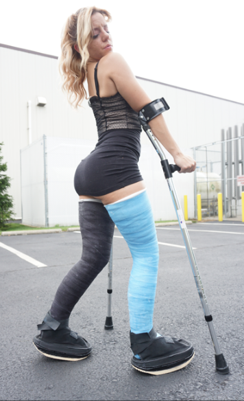Brittany - Brittany with both legs in massive fulleg casts - DLLCS & Socks