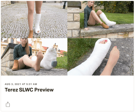 3 new videos: Tereze SLWC (thick and heavy plastercast!) - Sara SLWC & LAC (struggling with immobilized arm and leg!) - Doris LLWC (having a walk in her massive full leg plastercast with walking heel!)