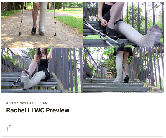 3 new videos: Thea LLC & SLC (both legs in plastercasts - with stretched ankles - unable to walk!) - Rachel plaster LLWC - Patricia SLWC