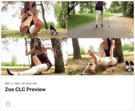 3 new videos: Zoe in plaster cylinder leg cast CLC - Ariana both feet in plaster legcasts DSLC - Suzy in plaster short leg walking cast SLWC
