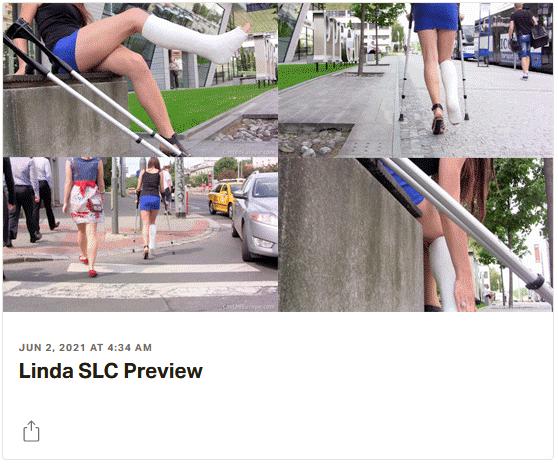 3 new videos: Ivonne in plaster SLWC, Linda in SLC on crutches, Suzi in velpeau upper body plaster cast