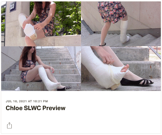 3 new videos: Inga both legs casted (left in red long leg walking cast with rubber heel - right in pink short leg cast), Danica in blue LLC, Chloe in plaster SLWC