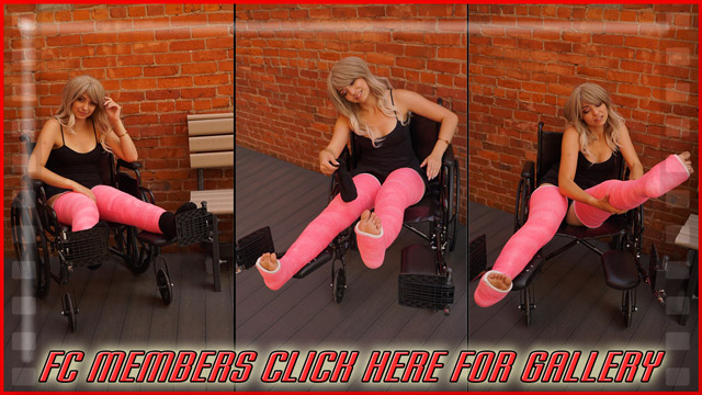 Tabitha Pink DLLC - Tabitha is looking absolutely beautiful in this first gallery. We went outside in public with her in a wheelchair for this first gallery. She starts with socks and takes them off.