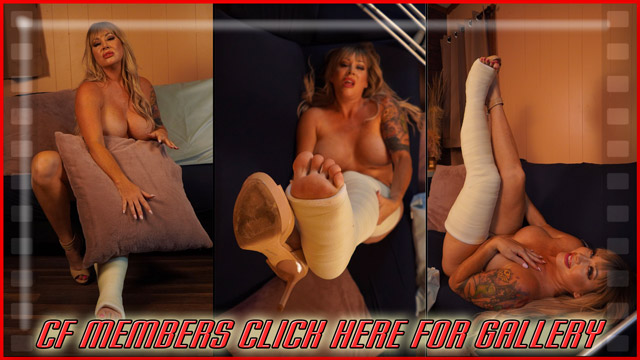 Jamie Knotts LLC - In this final gallery, the beautiful and busty Jamie Knotts bares all and shows some of her best assets while posing her legs and casted toes in some sexy poses.