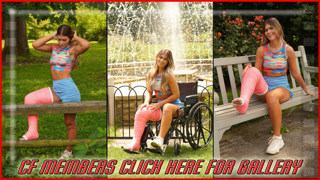 Brandi's Pink LLC - Brandi is looking stunning in her pink LLC and sporty outfit at the park. There's even some shots of her in a wheelchair in front of a fountain. More to come!