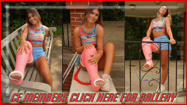 Brandi's Pink LLC - After finishing up our pictures on the park bench in front of some roses, Brandi crutches to a gazebo for some beatiful shots of her and her casted leg, both sitting and standing.