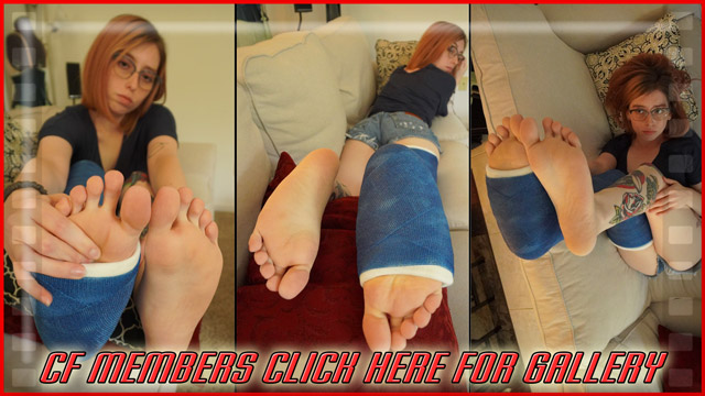 Chase's blue LLC - In this gallery, Chase with her great toes and soles, poses her blue LLC on the couch trying to get her leg comfortable just like in the video. This gallery is full of great shots.