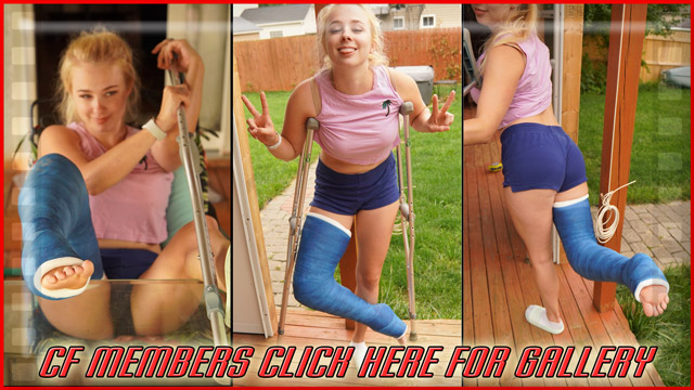 Angel's Dark Blue Public LLC - Angel's out on the back porch in her short shorts, 90° LLC with inward foot and unpolished nails, posing her feet up on the table and then poses on crutches.