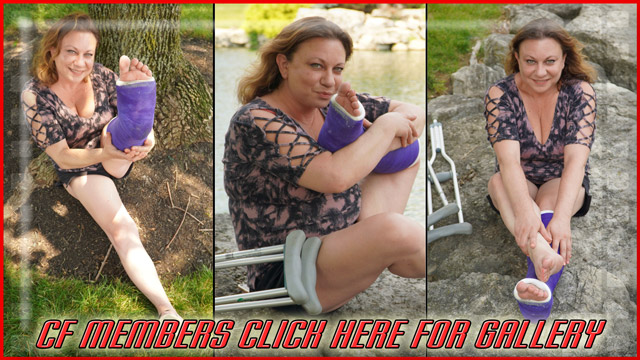 Rochelle West Purple SLC - One more gallery of Rochelle West before the final gallery of Brandi. In this gallery, Rochelle shows off her flexibility as she poses her purple SLC by the lake.