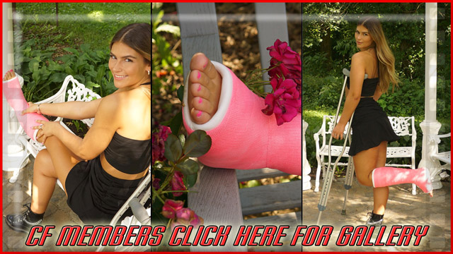 Brandy Pink SLC - And here's the final, beautiful pics on the stunning Brandi. She poses on the bench, on crutches and then poses her cute casted toes with some roses. New shoot up next!