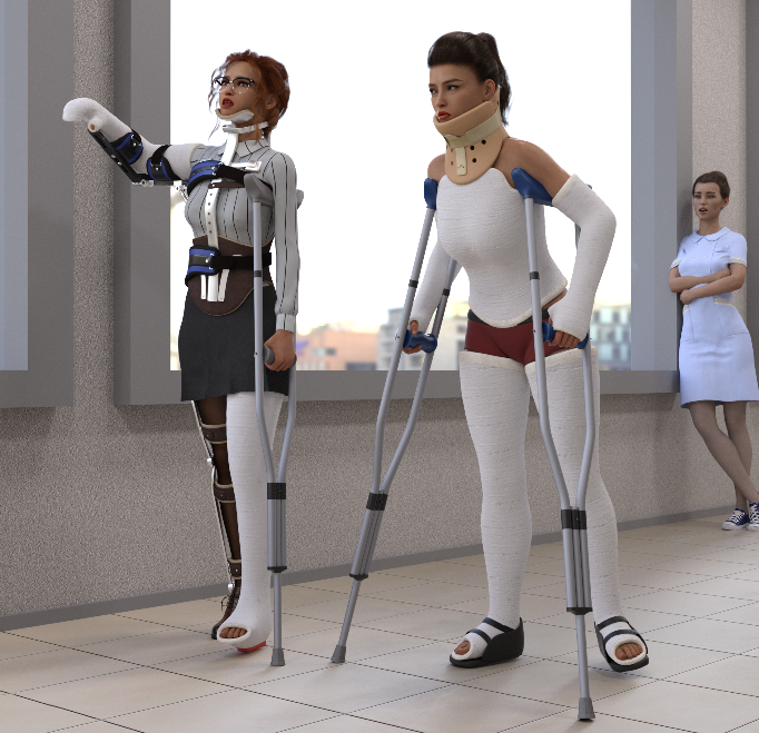 These days, the two unfortunate Adler sisters can often be seen hobbling around the hallway in front of their hospital rooms. With some progress in their recovery, nurse Celia was tasked with organizing regular walking practice for them.