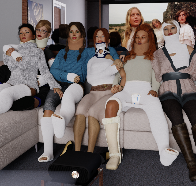 Some heavily casted girls decided to arrange a little film night.