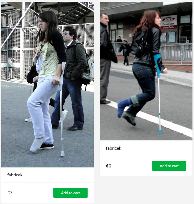 2 new sets: girls with plastered legs on crutches - both wearing socks over their plaster boots...