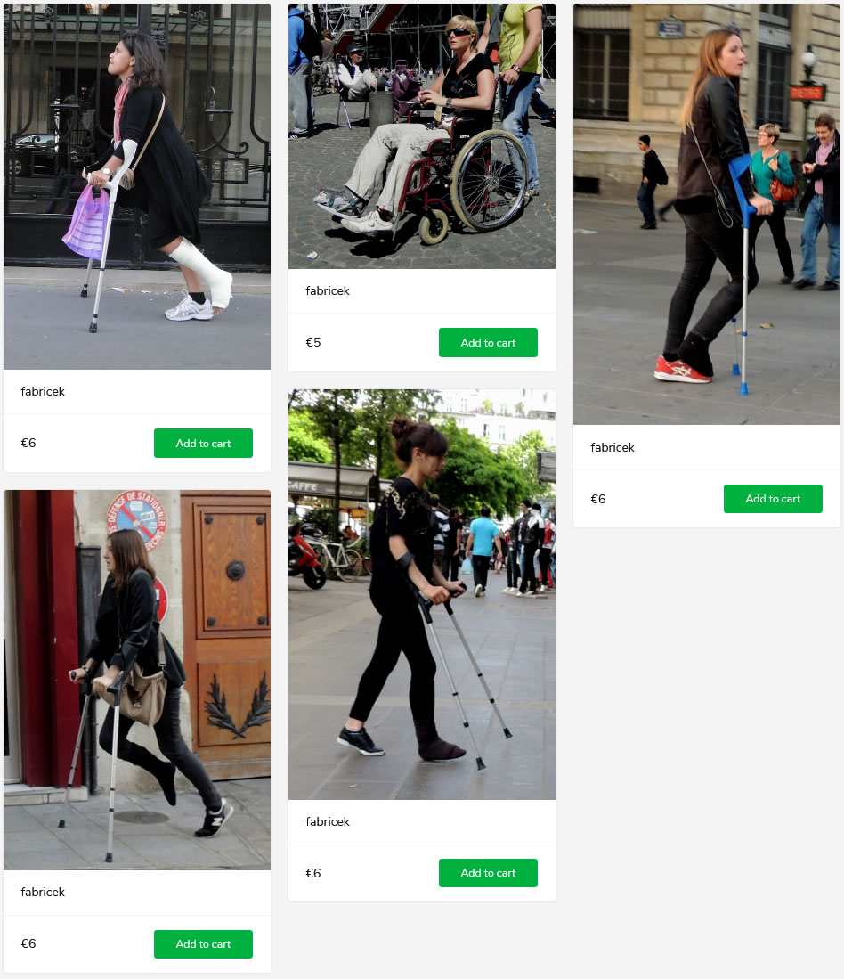 5 new sets of french women: 3 girls crutching around with a foot enclosed in cast, one with a walker boot in wheelchair.