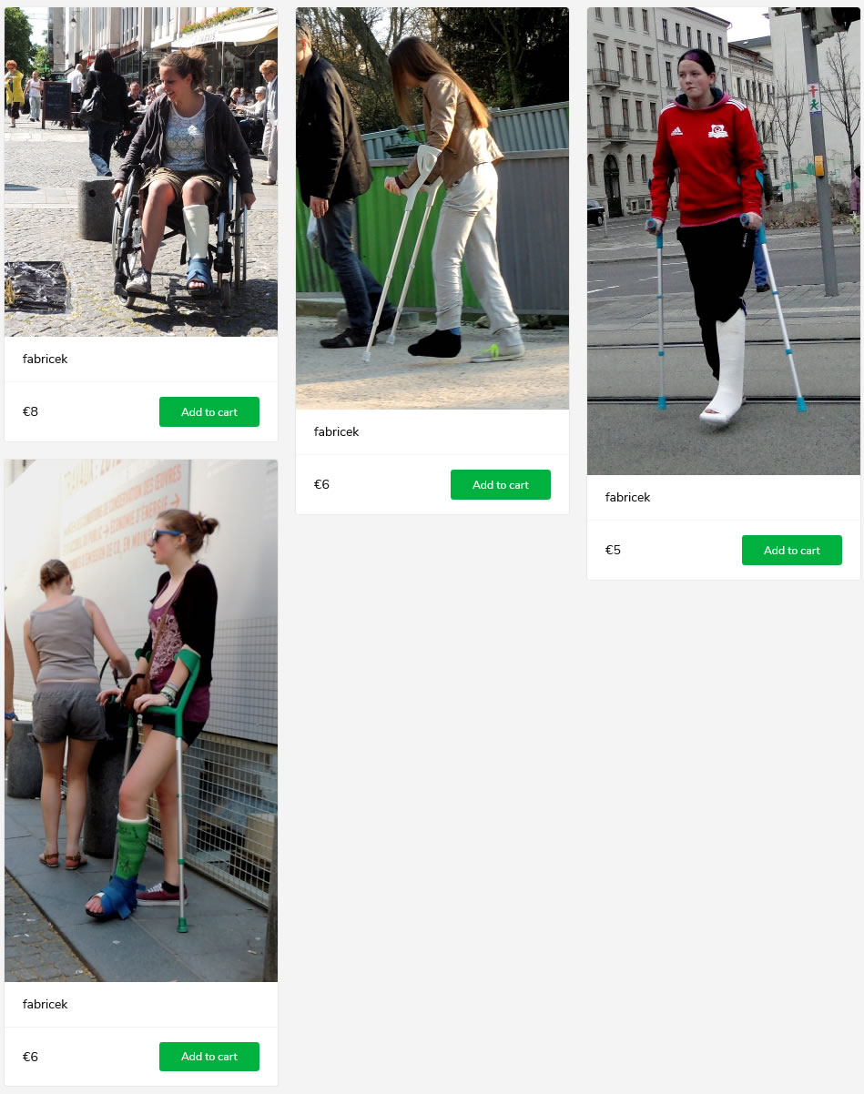 4 new sets of women with a broken leg in green, blue and white casts - one in wheelchair, others on crutches.
