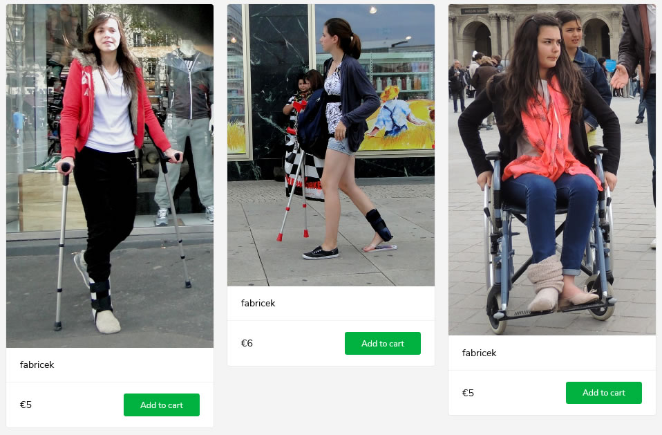 3 new sets: women witch crutches and braces - one in a wheelchair.