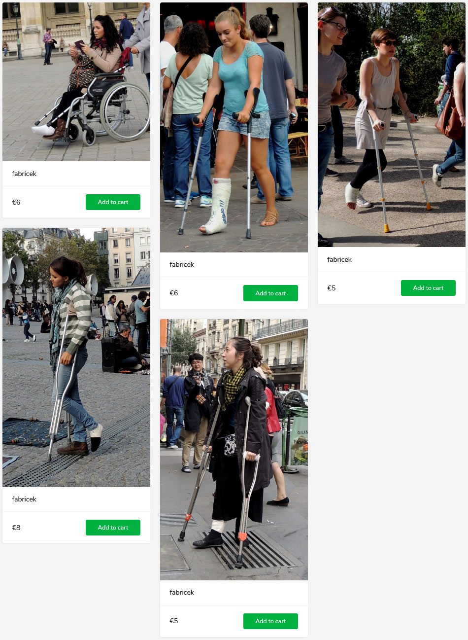 5 new sets showing girls and women crutching and in wheelchairs during orthopedic treatment in casts, braces and splints
