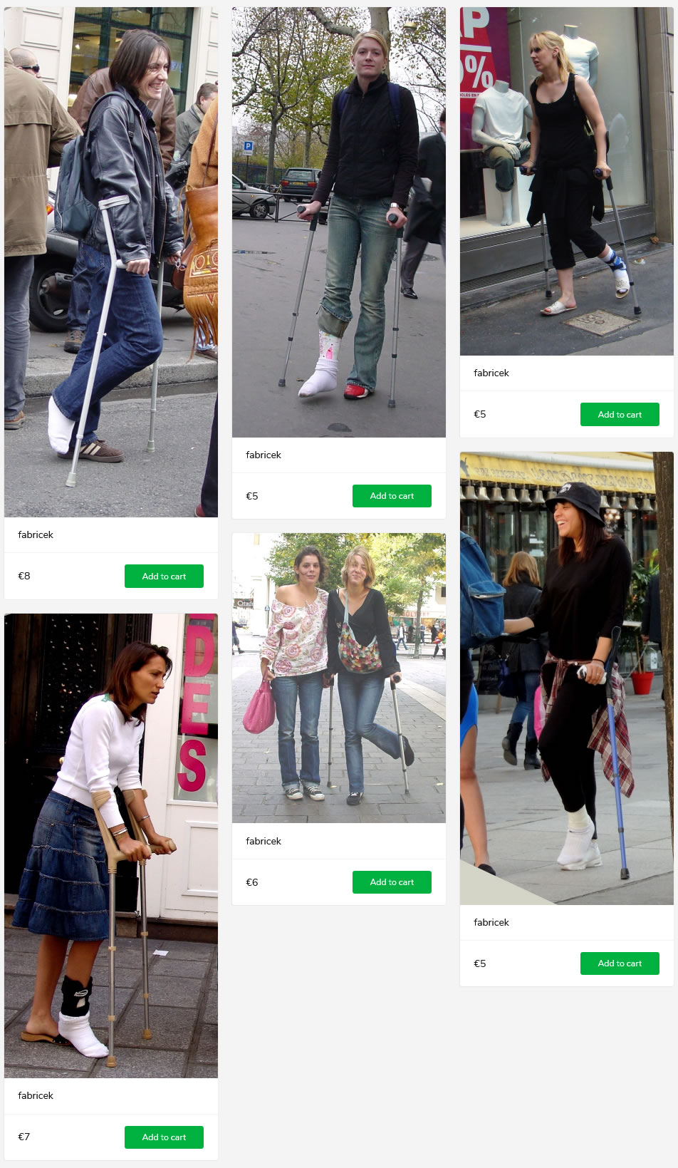 6 sightings of women with casted and/or braced legs - all on crutches.