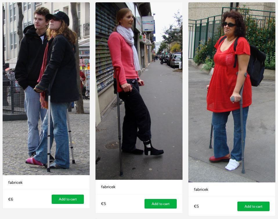 3 sets of women with leg in cast or brace - all on crutches.