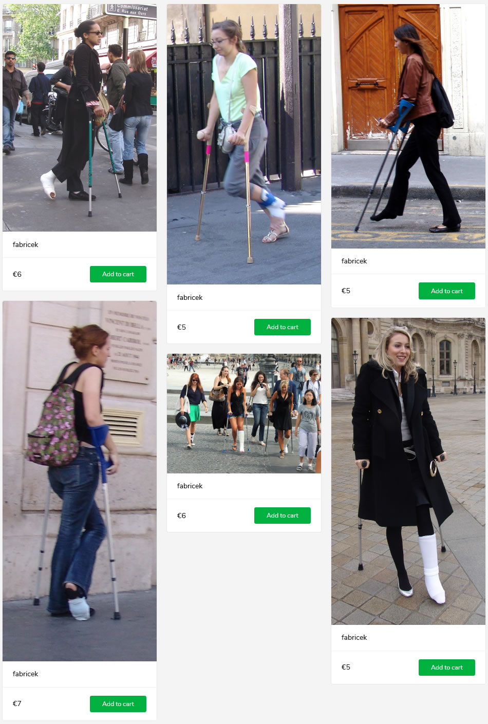 6 sets of women with casted, barefoot, socked or braced legs - crutching in france.