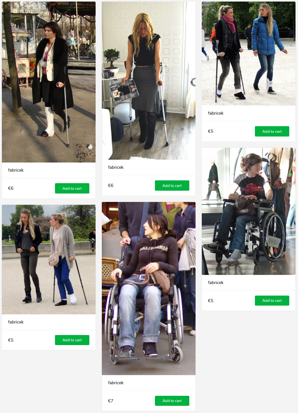 6 sets of women (models + sightings) with casted and/or braced legs - some on crutches, some in wheelchairs.