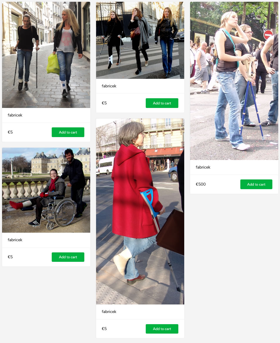 5 sets of women (models + sightings) with casted and/or braced legs - some on crutches, one in wheelchair.