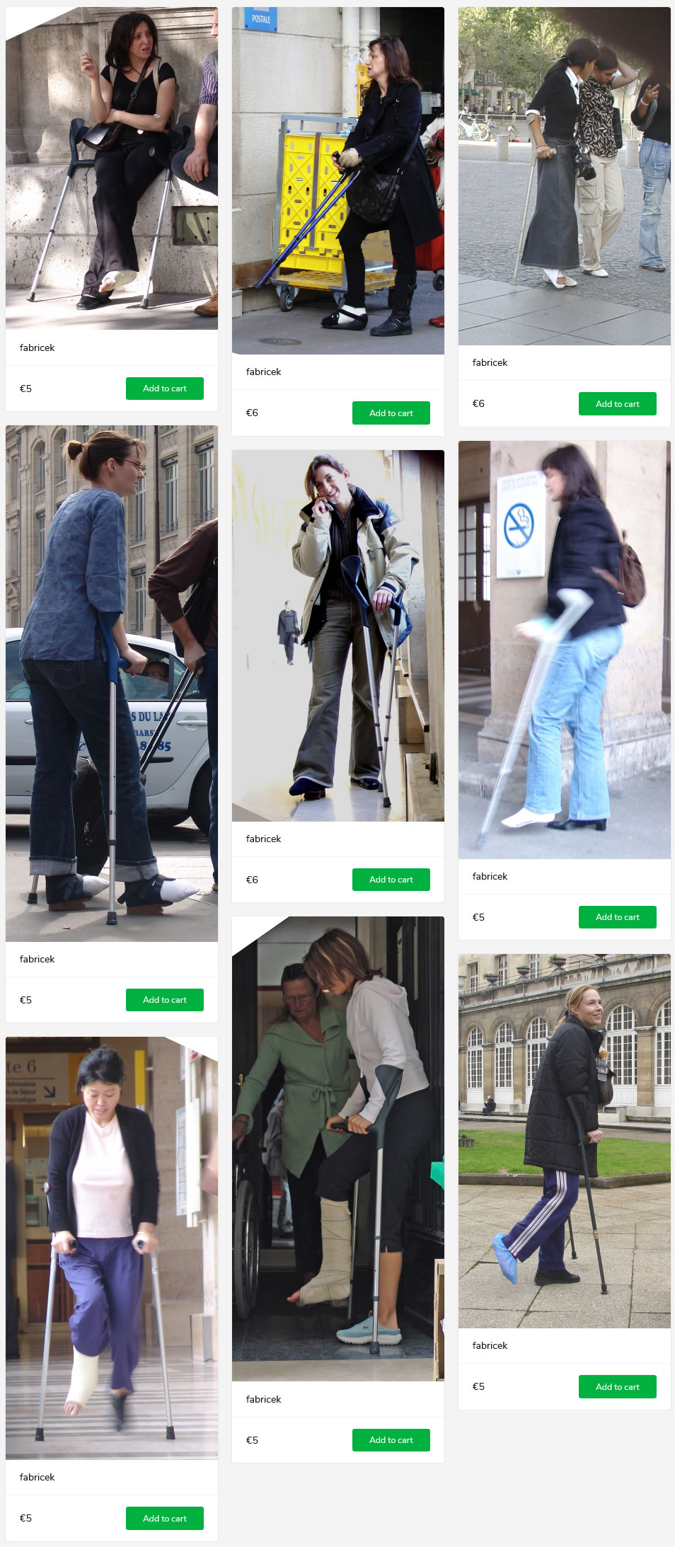9 sets of girls and women on crutches, some with casts, same with bandages, one with both feet bandaged in special shoes...