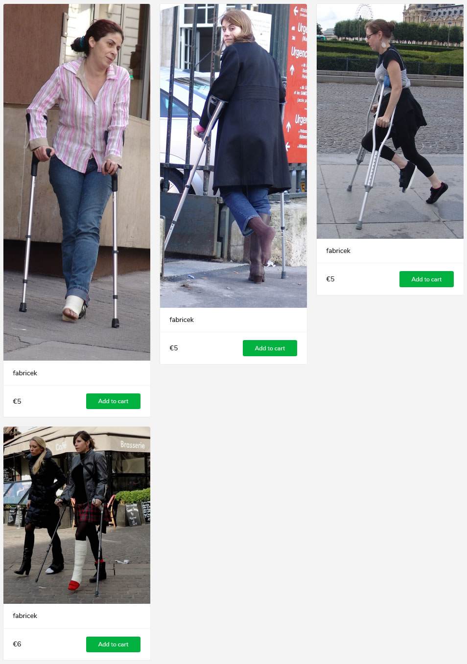 4 sets of women crutching with plastered/braced legs and barefoot