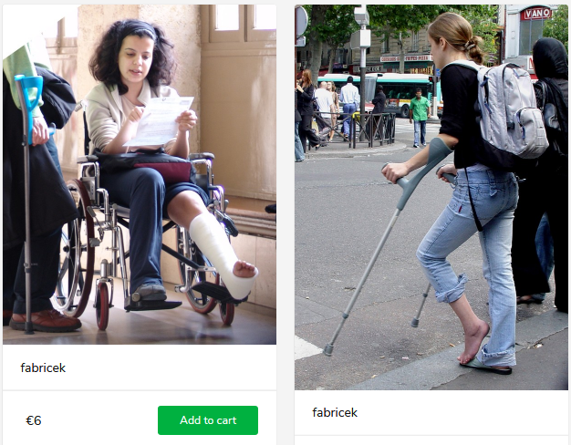 2 new sets (woman with sprain on crutches + short leg plaster cast in wheelchair)
