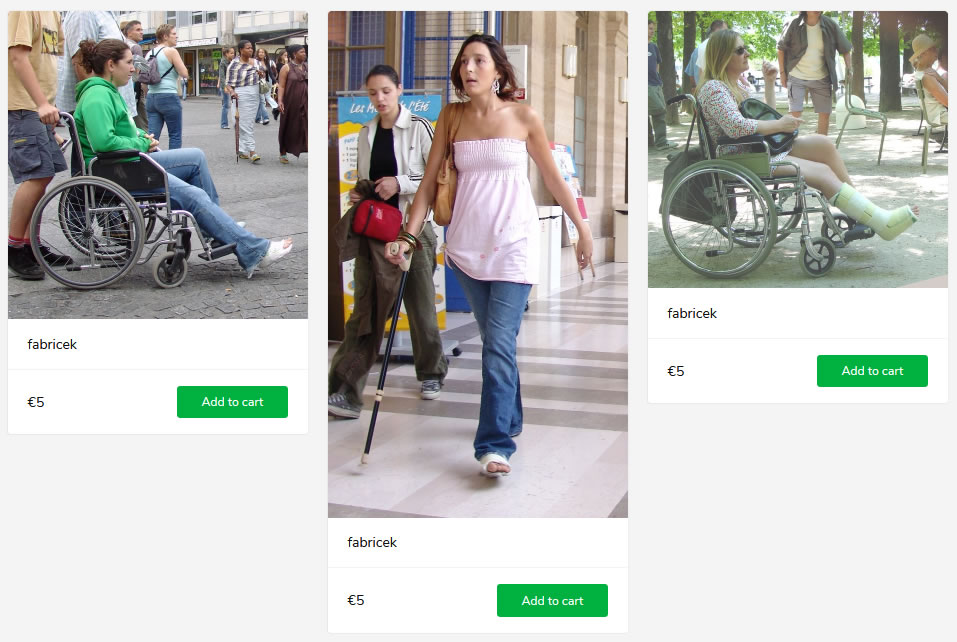 3 new sets (women in wheelchairs with plastered legs + on crutches)