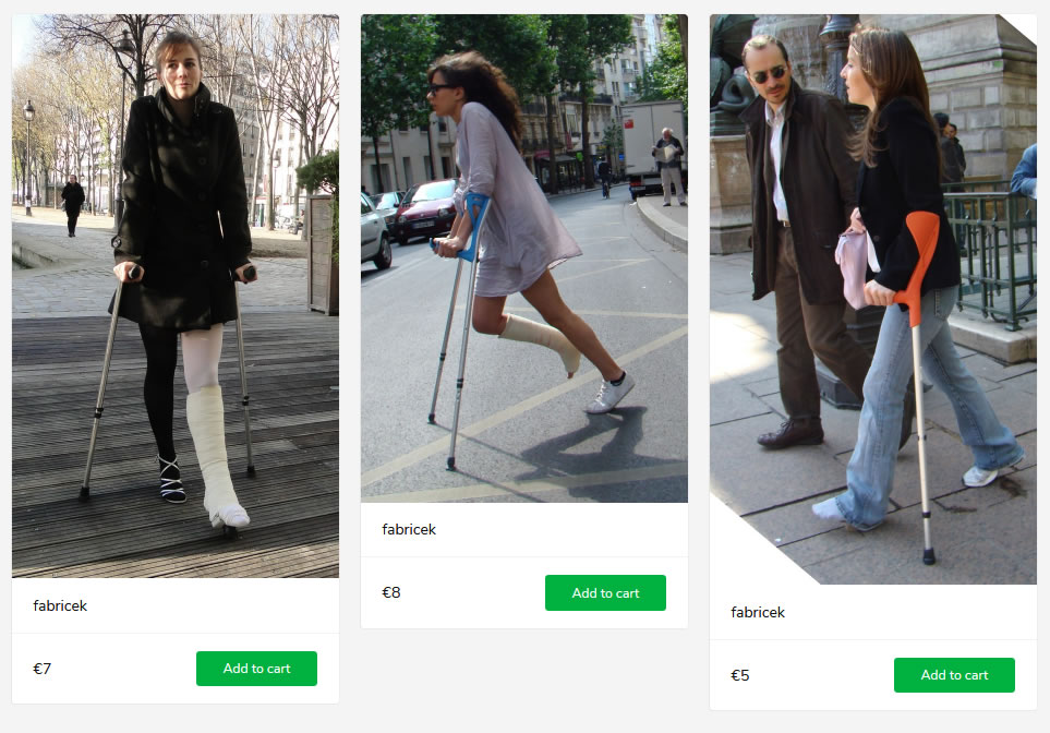 3 new sets - women with casts, sprain and crutches.