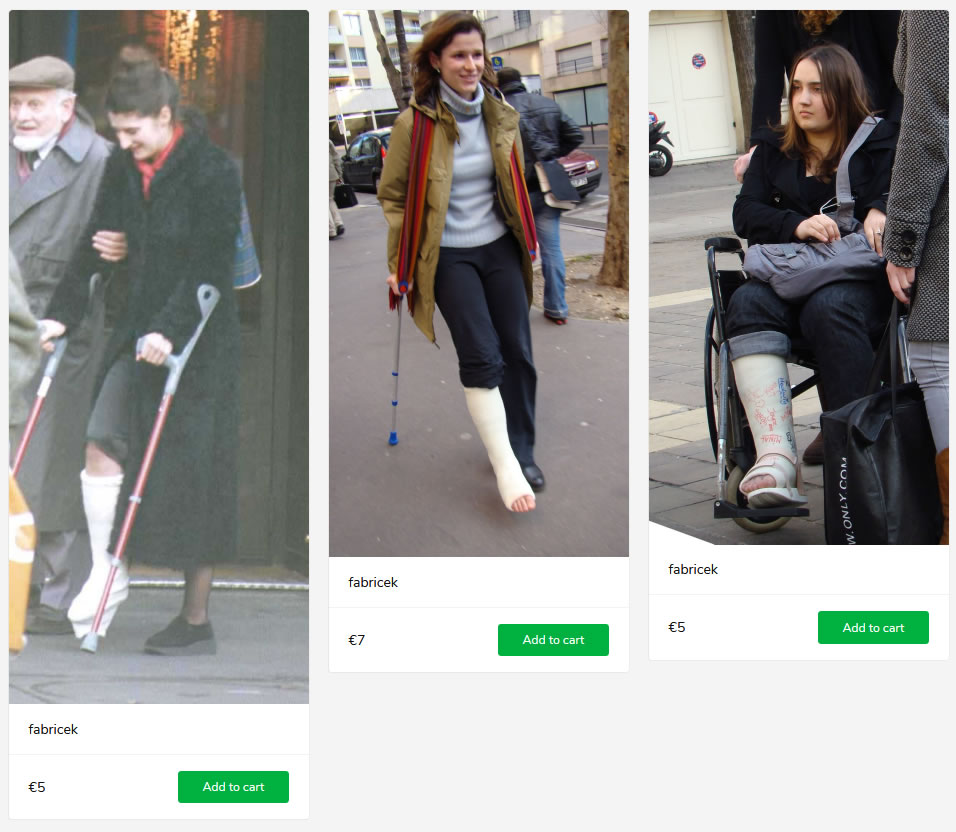3 new sets - women wearing casts, crutching and in wheelchair.