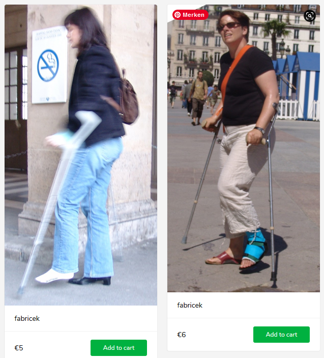 2 new sets (woman with blue cast + woman with sprain, both on crutches)
