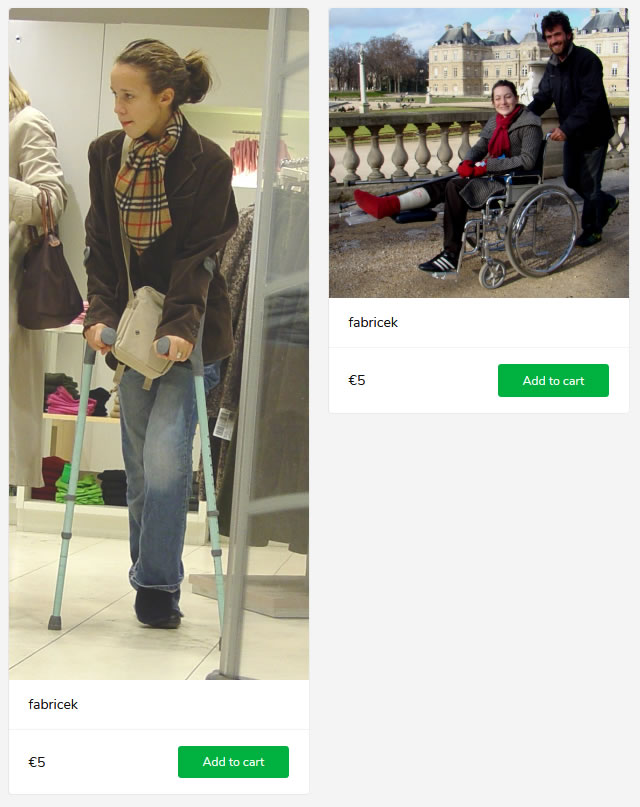 2 new sets (woman with cast in wheelchair + woman on crutches)