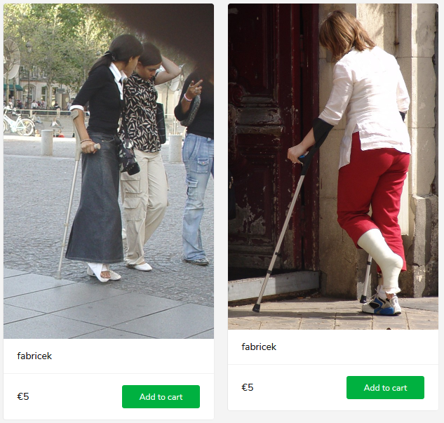 2 new sets (women with casts on crutches)