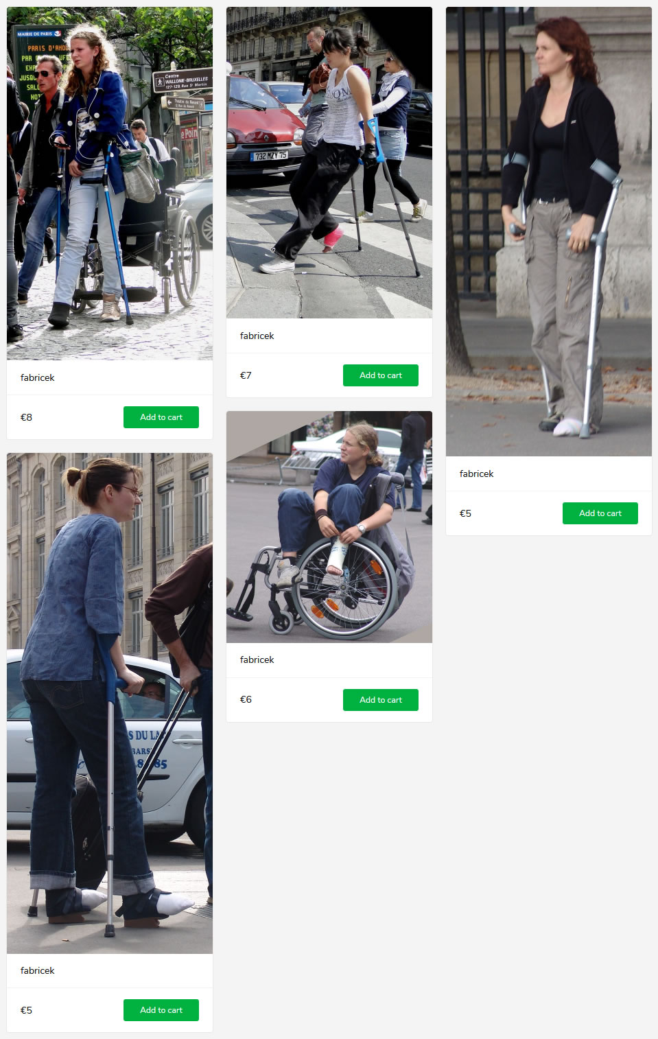 3 new sets (woman with cast/bandage/sprain on crutches and in wheelchair)