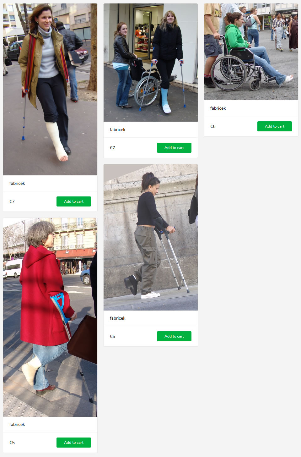 5 new sets (woman with cast/bandage on crutches and in wheelchair)